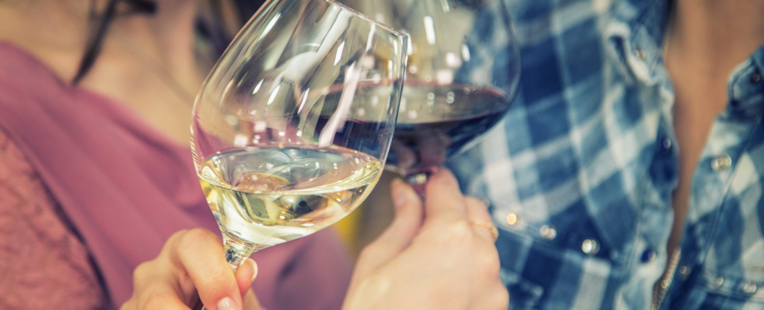 Close up of cheering with wine. Two women winetasting.