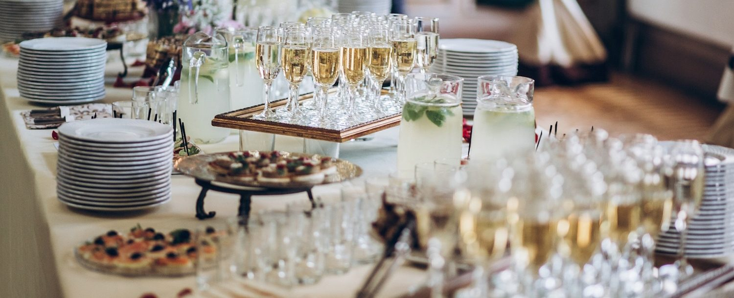 food and drinks on table at an event.